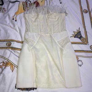 Maje cream sweetheart feather neck mini dress